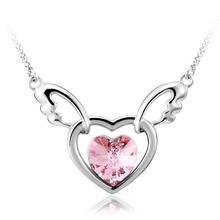 Collar de Cristal Swarovski Chapado en Rodio en Forma de Corazón Color Rosa