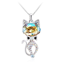 Yellow Rhodium Plated Swarovski Crystal Cat Shaped Necklace