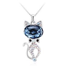 Collar de Cristal Swarovski Chapado en Rodio en Forma de Gato Color Azul