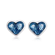 Aretes de Plata Con Swarovski en Forma de Corazón Color Azul