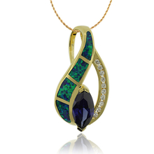 Gold Plated Pendant With a Great Tanzanite stone in Marquise Cut and Australian Opal