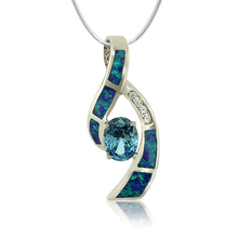 Beautiful Blue Topaz In Oval Cut and Australian Opal Silver Pendant