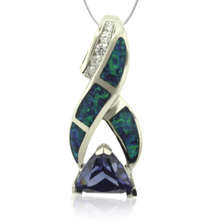 Beautiful Silver Pendant with Tanzanite in Trillion Cut and Australian Opal