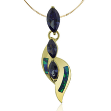 Gold Plated Pendant With 3 Tanzanite stones in Marquise Cut and Australian Opal