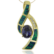 Gold Plated Pendant With Tanzanite in Oval Cut and Australian Opal