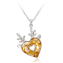 Divino collar de Swarovski con Rodio en forma de Corazón Color Ámbar