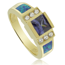 Beautiful Opal and Gold Plated Ring With Tanzanite Gemstone