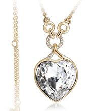 Hermoso Collar Corazón Swarovski Color Blanco con Baño de Oro Amarillo 18K