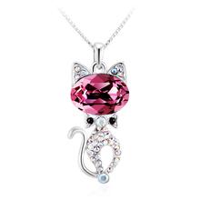 Hermoso Collar de Cristal Swarovski Chapado en Rodio en Forma de Gato Color Rosa