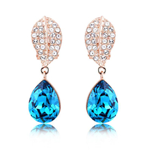 18K Rose Gold Plated Swarovski Earrings Blue Sky Color