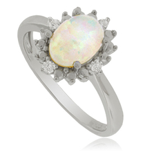 Beautiful White Opal Ring with Simulated Diamonds in Sterling Silver