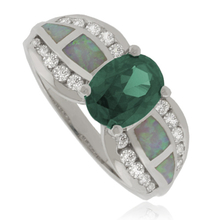 Alexandrite Sterling Silver Ring with White Opal