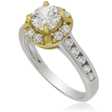 Silver Engagement Ring with Precious Zirconium Gemstones and Gold Plated Details