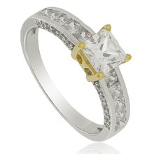 Engagement Silver Ring with Zirconium gemstone and 14K Yellow gold-plated finish
