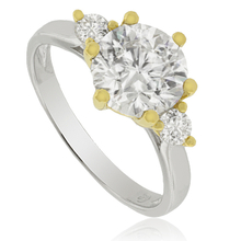 Engagement Silver Ring with 14K Yellow gold-plated finish