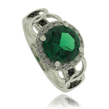 Silver Ring With Emerald Gemstone In Round Cut and Zirconia