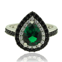 Silver Ring With Drop Cut Emerald Gemstone and Zirconia