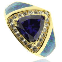 Opal and Gold Plated Ring With Great Trilion Cut Tanzanite Gemstone.