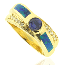 Opal and Gold Plated Ring With Precious Tanzanite Gemstone