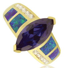 Opal and Gold Plated Ring With Great Marquise Cut Tanzanite Gemstone.