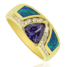 Opal and Gold Plated Ring With Trillion Cut Tanzanite Gemstone.