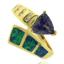 Precious Opal and Gold Plated Ring With Trillion Cut Tanzanite Gemstone