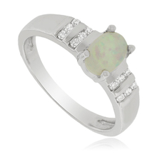 White Opal Ring with Zirconia in Sterling Silver