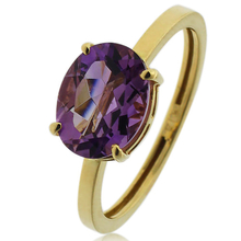 14k Gold Ring With Oval Cut Amethyst Gemstone