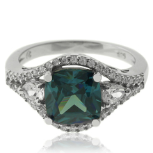 Elegant Sterling Silver Ring With Alexandrite Gemstone and Zirconia