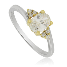 Pretty Silver Ring with Zirconium Gemstone and 14K Yellow Gold Plated Finish