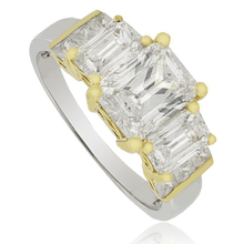 3 Stone Emerald cut simulated diamond Silver Ring