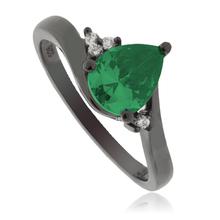 Emerald Pear Cut Black Silver Ring
