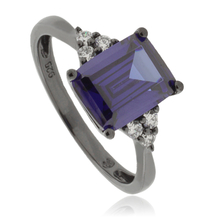 Emerald Cut Tanzanite Black Silver Ring