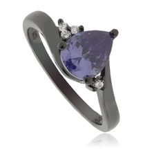 Tanzanite Pear Cut Silver Ring