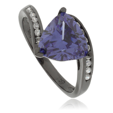 Trillion Cut Tanzanite Black Silver Oxidized Ring