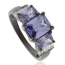 3 Stone Emerald Cut Tanzanite Black Silver Ring
