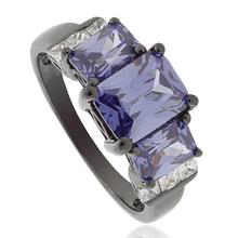 3 Stone Emerald Cut Tanzanite Black Silver Ring