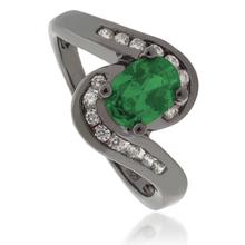 Oval-Cut Emerald .925 Oxidized Silver Ring.
