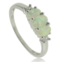 3 Stone Withe Opal Ring in Sterling Silver