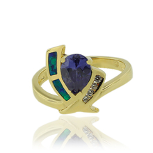 Opal and Gold Plated Ring With Elegant Tanzanite Gemstone in Drop Cut