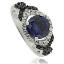 Silver Ring With Round Cut Tanzanite Gemstone and Zirconia