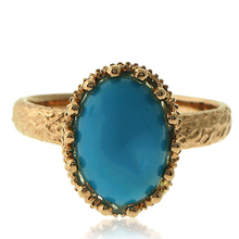 Genuine Turquoise Ring with 18 karat Yellow Gold