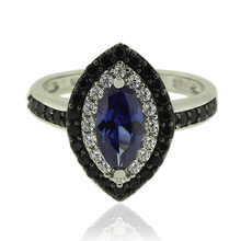 Silver Ring With Marquise Cut Tanzanite Gemstone and Zirconia