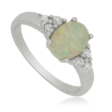 Sterling Silver Ring With White Opal