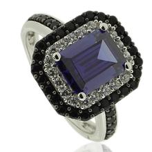 Silver Ring With Emerald Cut Tanzanite Gemstone