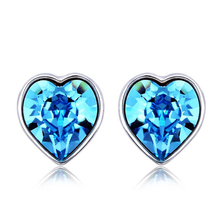 Swarovski Earrings Beautiful Blue Heart-Shaped