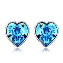 Swarovski Earrings Beautiful Blue Heart-Shaped