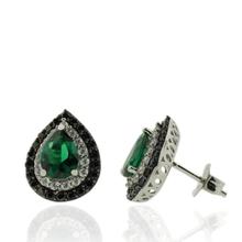 Sterling Silver Earrings With Emerald Gemstones in Drop Cut