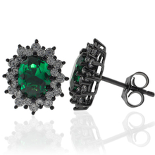 Black Silver Earrings With Emerald Gemstones in Oval Cut
