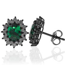 Black Silver Earrings With Emerald Gemstones in Oval Cut